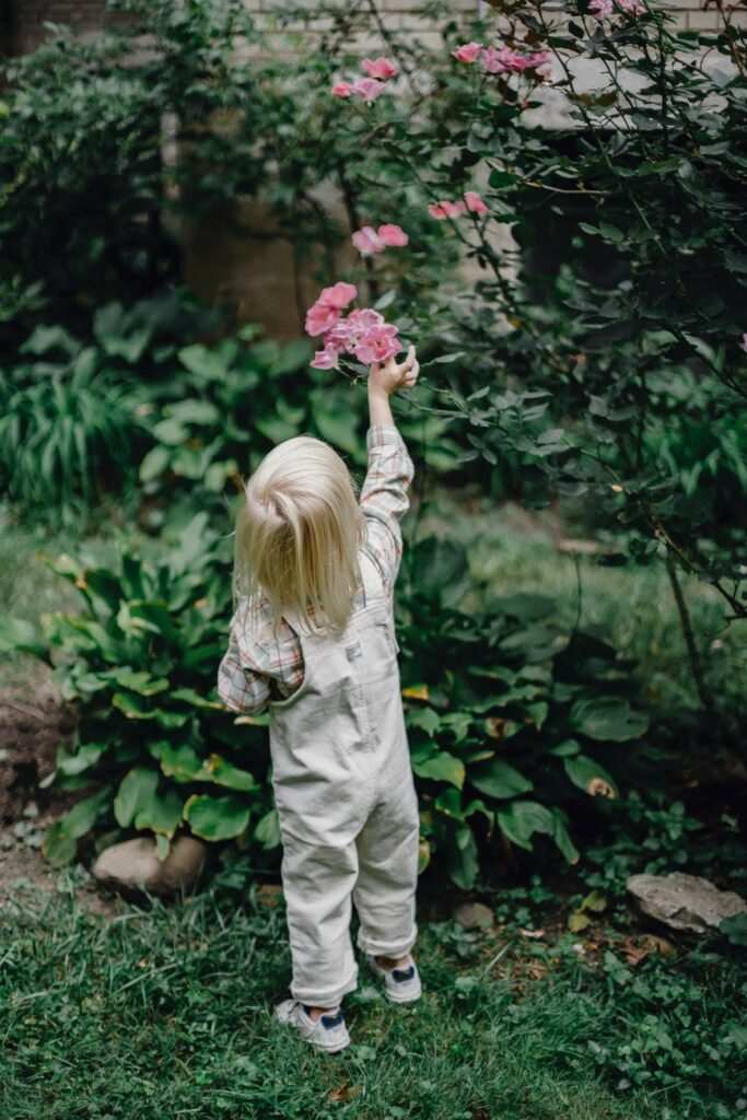 child in forest picking flowers